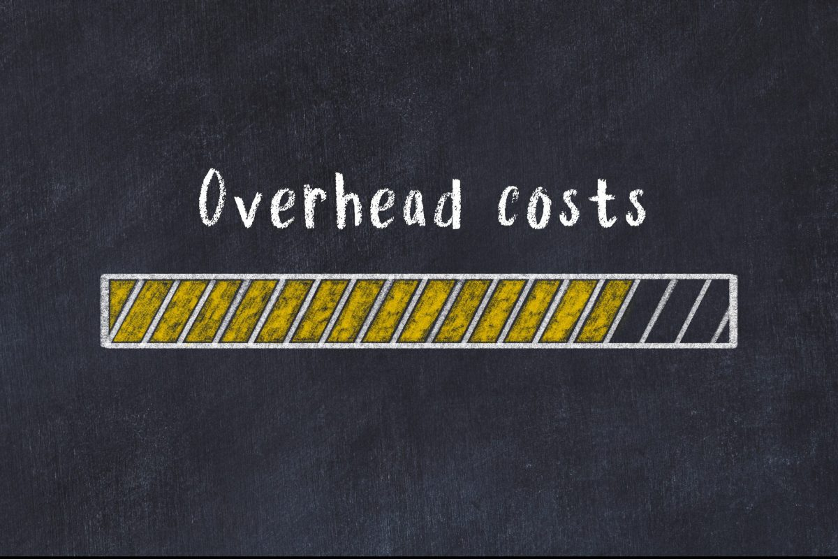 Chalk drawing of loading progress bar with inscription overhead costs
